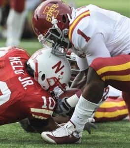 Cyclones David Sims intercepts pass against Nebraska