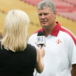 Cyclone Head Football Coach Paul Rhoads is interviewed at Media Day